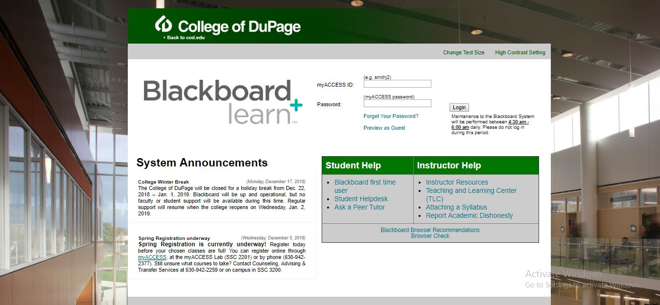 College of DuPage Blackboard Login
