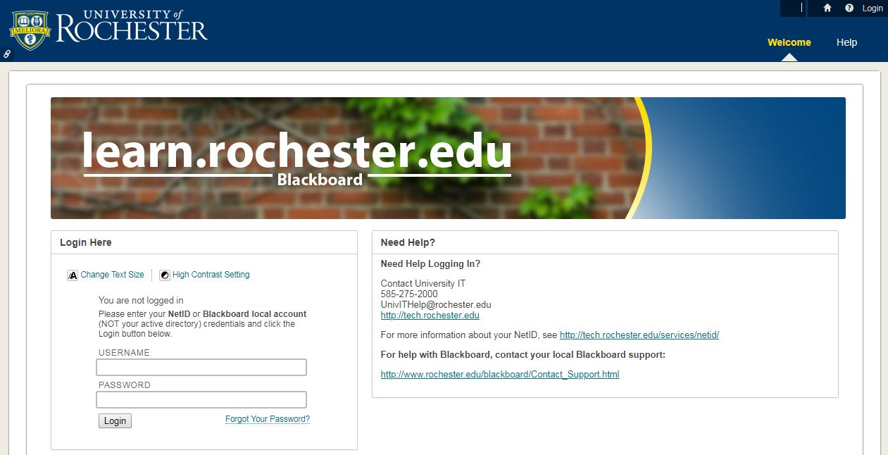 University of Rochester Blackboard Login