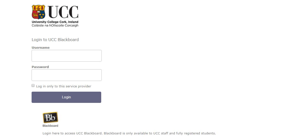 UCC Blackboard Login