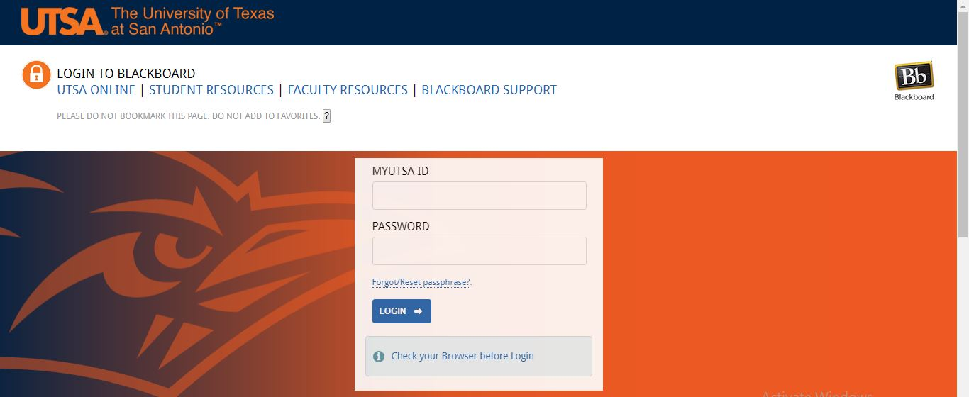 UTSA Blackboard Login