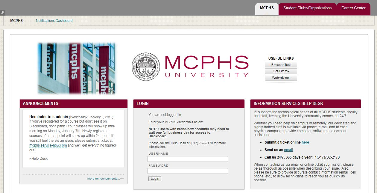 MCPHS Blackboard Login