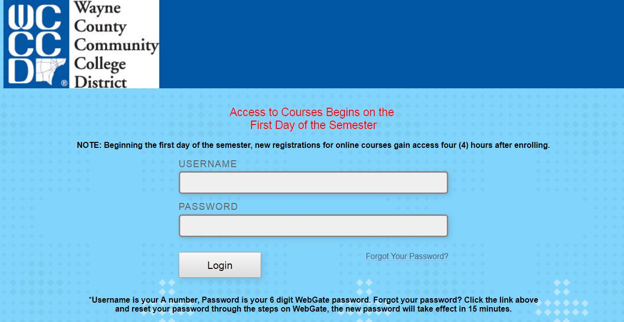 WCCCD blackboard Login